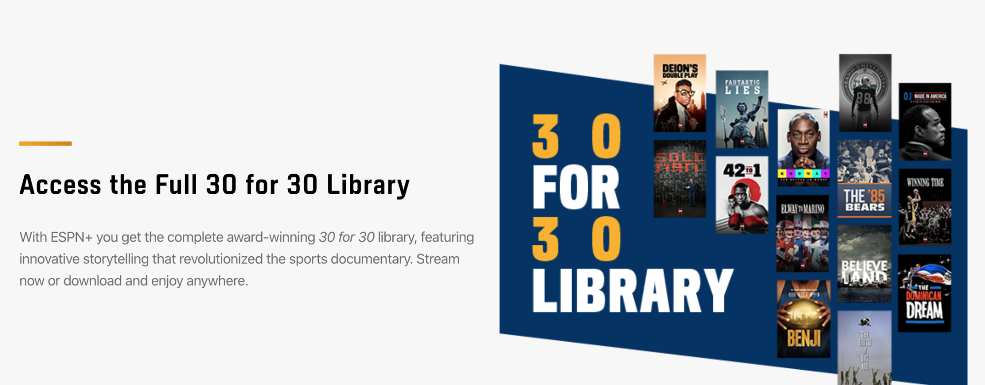 30 to 30 library - espn plus