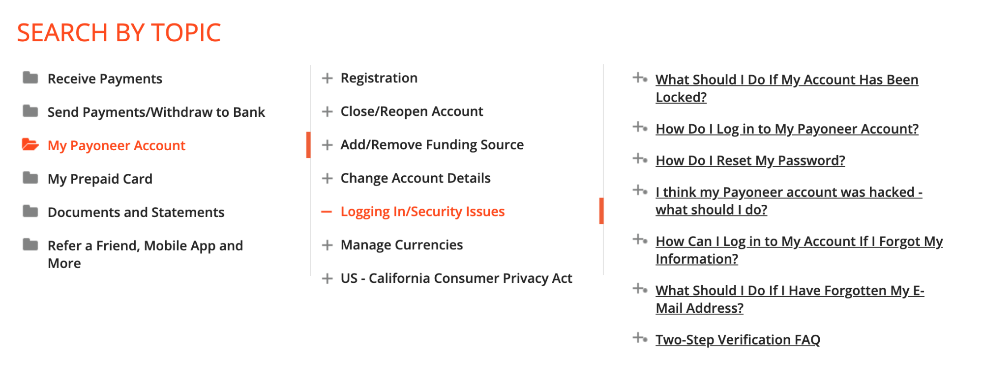 Payoneer Support Center search by topic