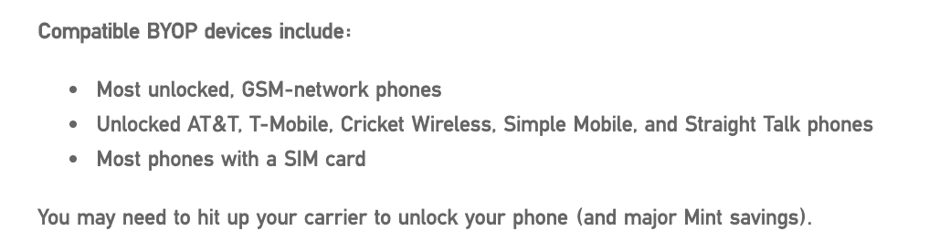 Mint Mobile's criteria for Android phones - trickut