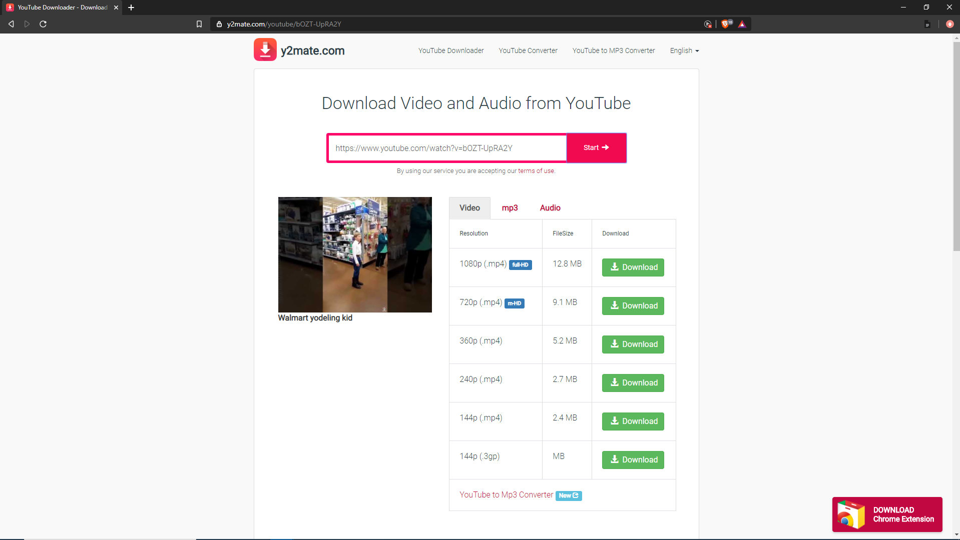 Y2mate download video and audio from youtube
