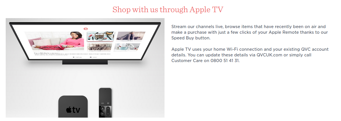 qvc shop using apple tv