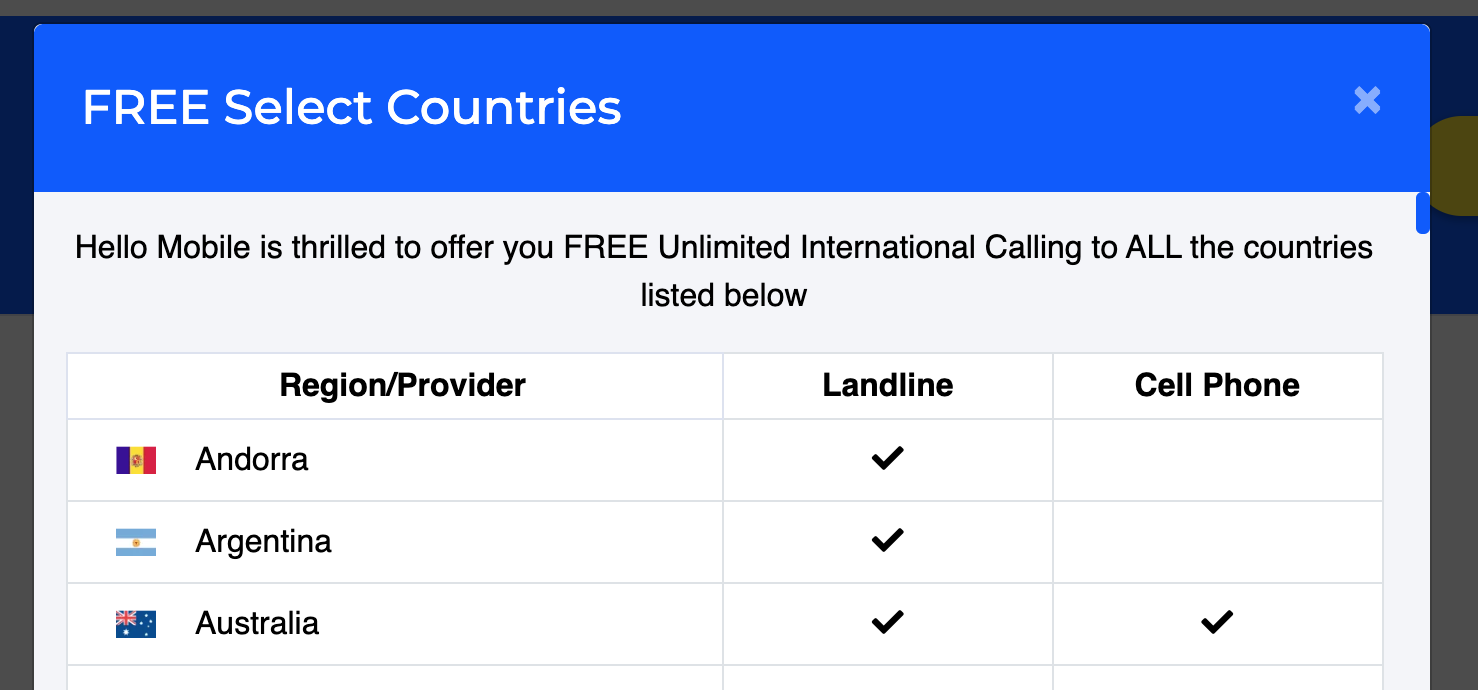 hello mobile free select countries